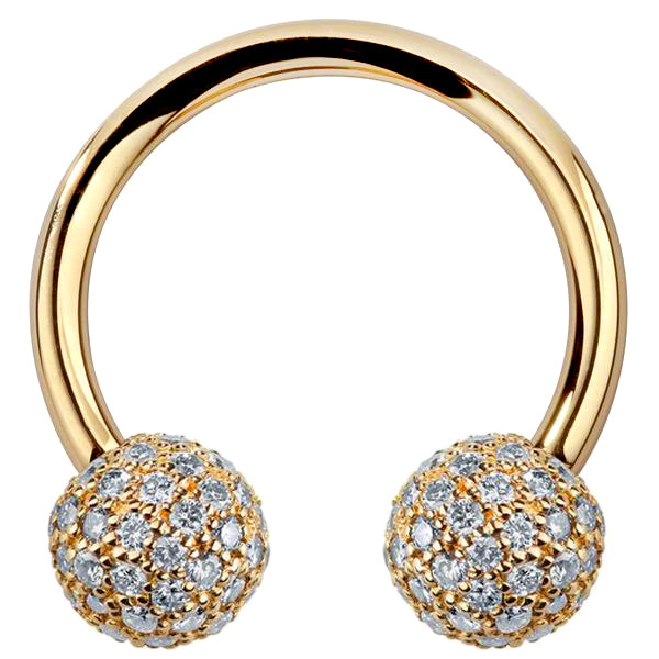 5mm Diamond Pave Balls 14K Gold Circular Barbell