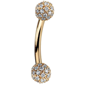 Diamond Pave 14K Gold Curved Barbell 5mm Balls