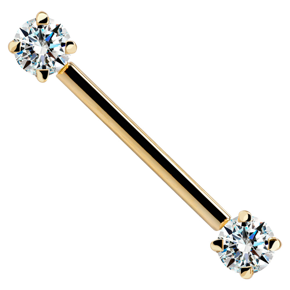 Yellow Gold - Round Gemstone 14K Gold Straight Barbell