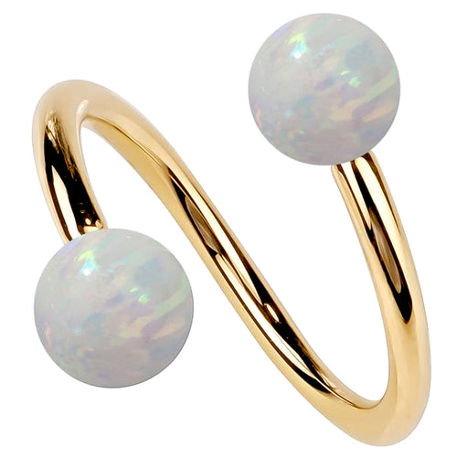 Opal 14k Gold Twister Spiral Barbell