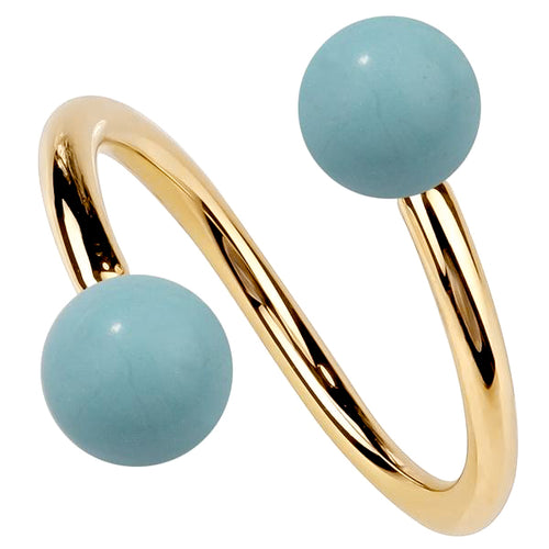 Faux Turquoise 14K Gold Twister Spiral Barbell