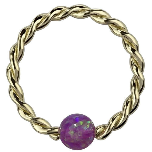 Purple Opal 14K Gold Twisted Captive Bead Ring Hoop