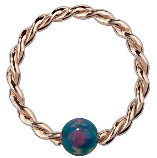 Teal Opal 14K Gold Twisted Captive Bead Ring Hoop
