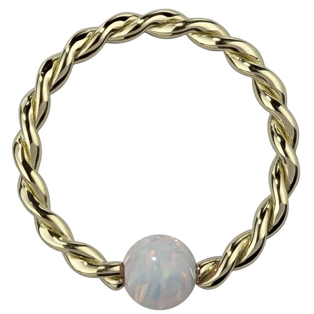White Opal 14K Gold Twisted Captive Bead Ring Hoop