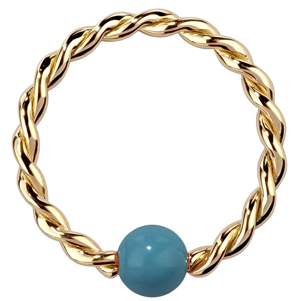 Faux Turquoise 14K Gold Twisted Captive Bead Ring
