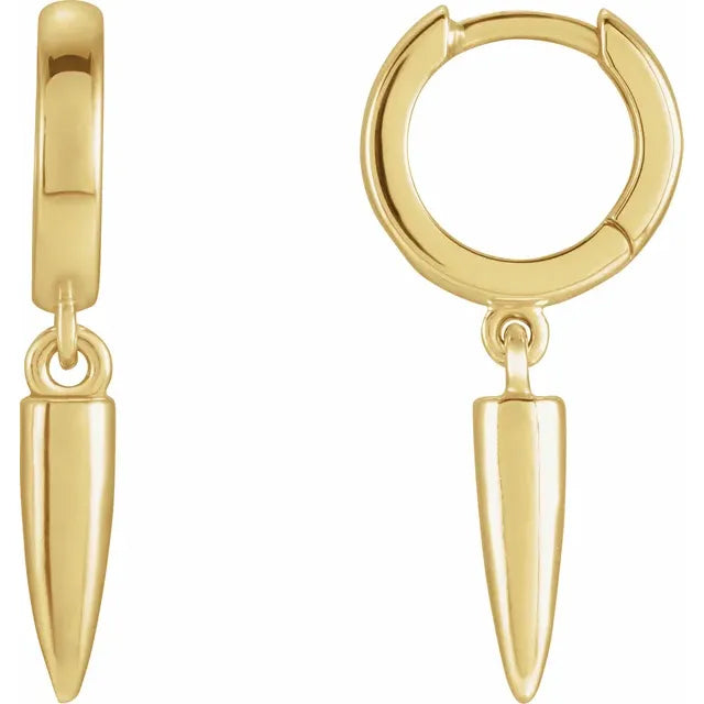 Spike Dangle 14k Gold Hinged Hoop Earrings