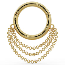 Yellow Gold  Cascading Chains 14k Gold Hoop Clicker Ring