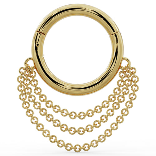 Cascading Chains 14k Gold Hoop Clicker Ring