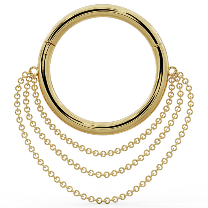 Large Cascading Chains 14k Gold Hoop Clicker Ring