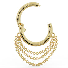 Open Clicker Cascading Chains 14k Gold Hoop Clicker Ring
