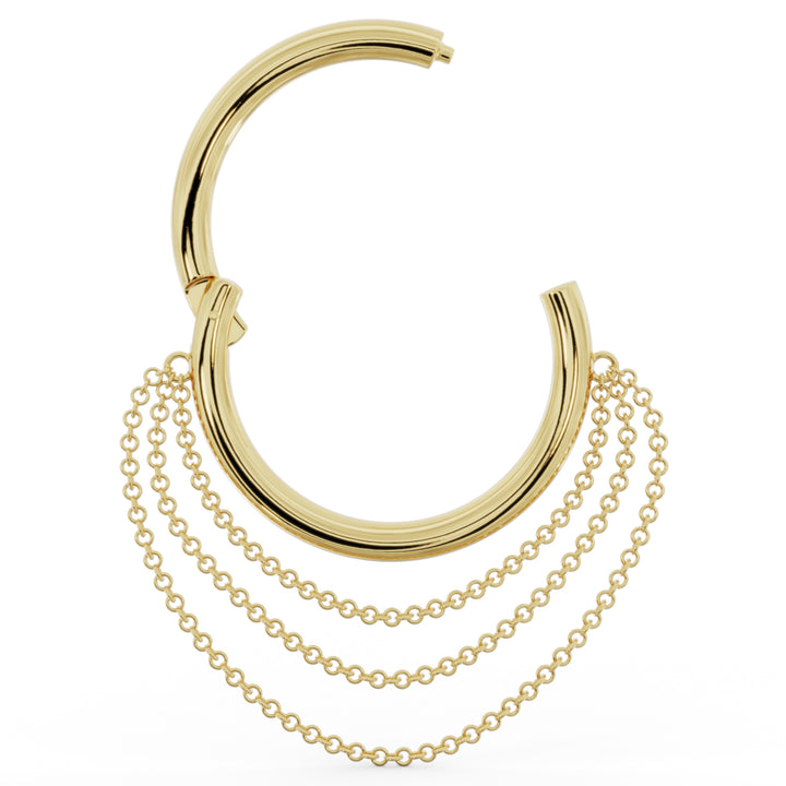 open clicker Large Cascading Chains 14k Gold Hoop Clicker Ring
