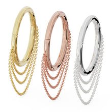 Color options Large Cascading Chains 14k Gold Hoop Clicker Ring