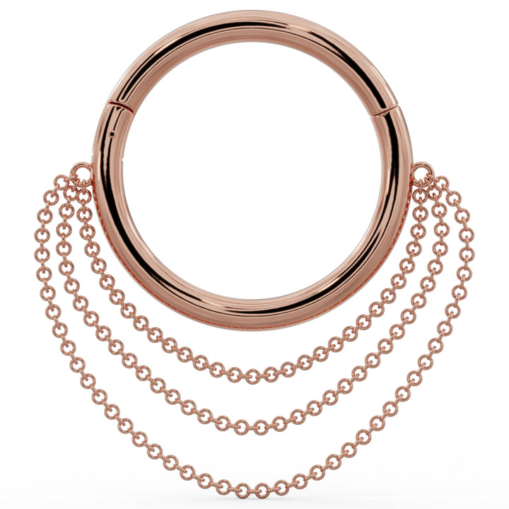 Rose Gold Large Cascading Chains 14k Gold Hoop Clicker Ring