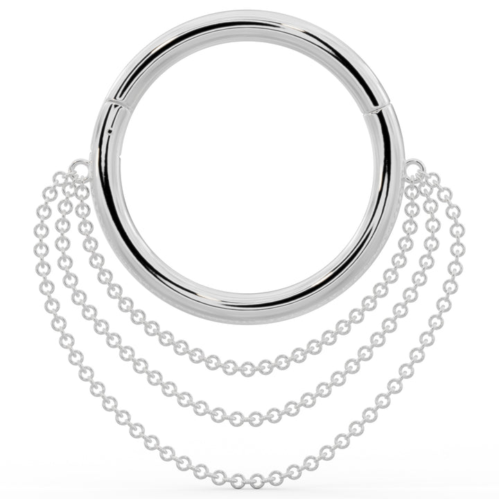 White Gold Large Cascading Chains 14k Gold Hoop Clicker Ring