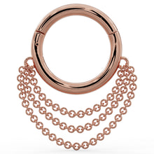 Rose Gold Cascading Chains 14k Gold Hoop Clicker Ring