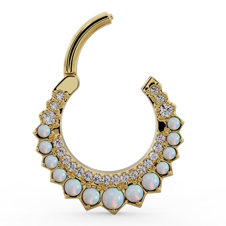 Open clicker -Diamond & Opal Moon 14k Gold Clicker Ring Hoop