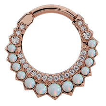 Rose Gold - Diamond & Opal Moon 14k Gold Clicker Ring Hoop