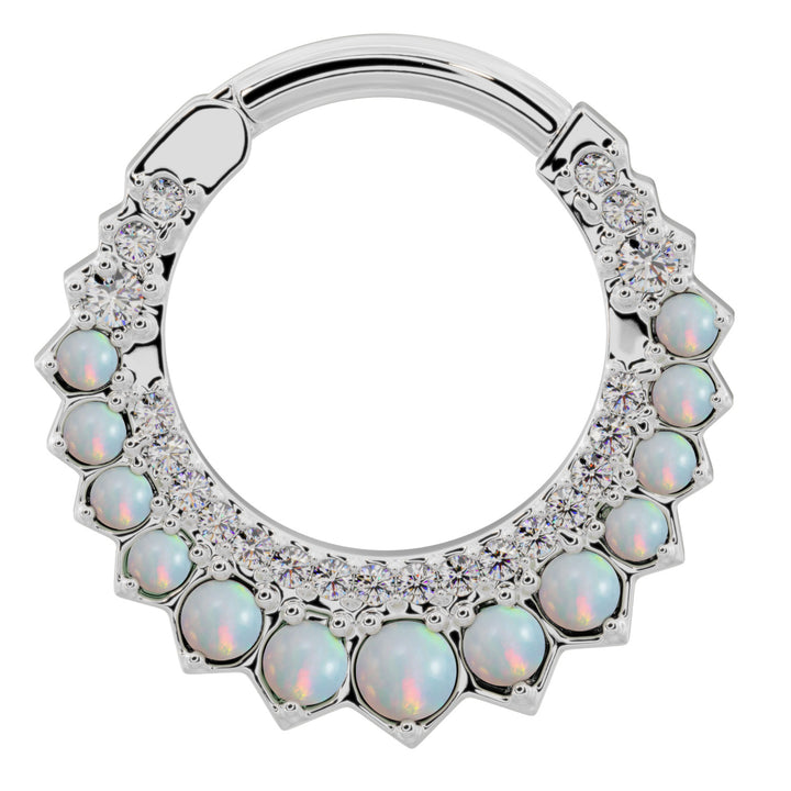 White Gold - Diamond & Opal Moon 14k Gold Clicker Ring Hoop