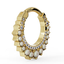 Side View - Diamond & Pearl Moon 14k Gold Piercing Clicker Ring