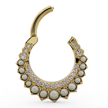 Open Clicker- Diamond & Pearl Moon 14k Gold Piercing Clicker Ring