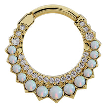 Yellow Gold - Diamond & Opal Moon 14k Gold Clicker Ring Hoop