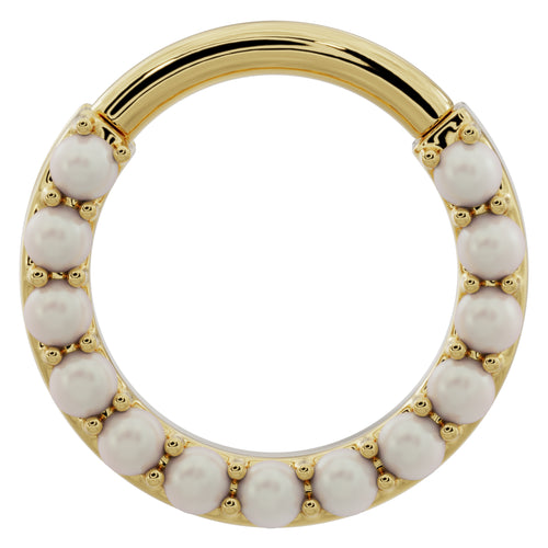 Pearl 14k Gold Clicker Ring Hoop