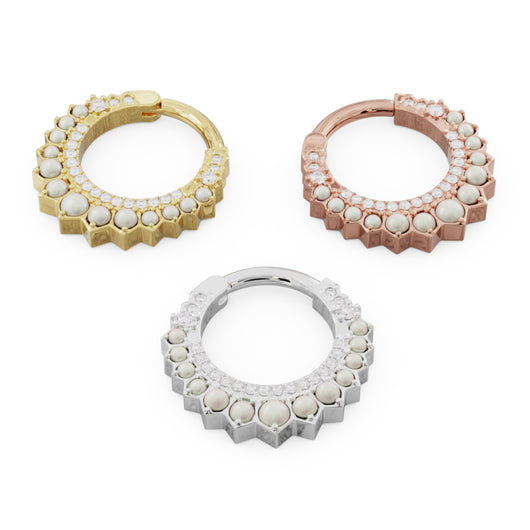 Pearl & Diamond Moon 14k Gold Clicker Ring Hoop