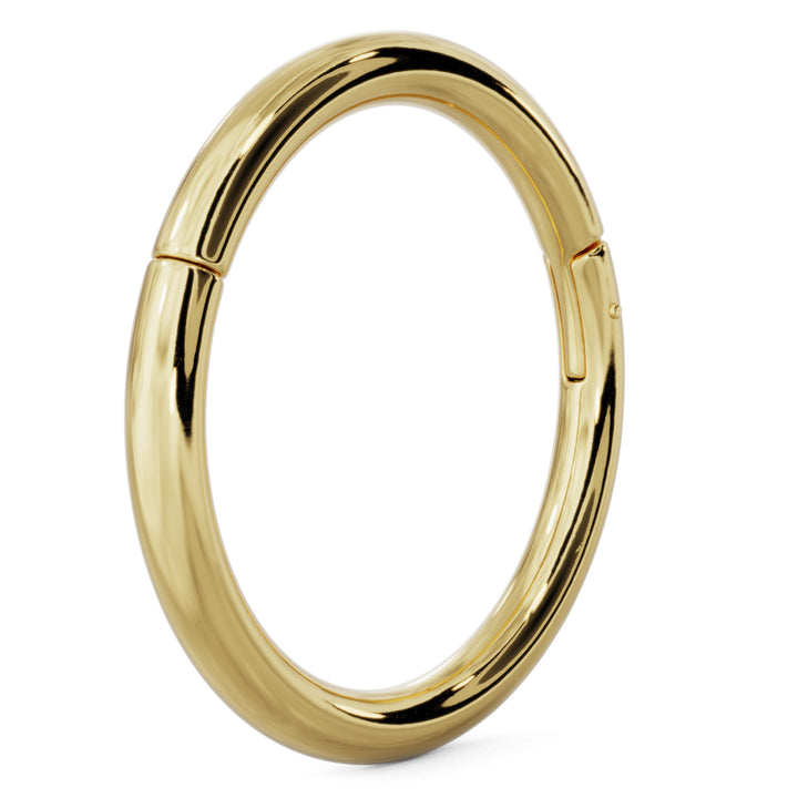 Angle- 14k Gold Plain Clicker Ring Hoop