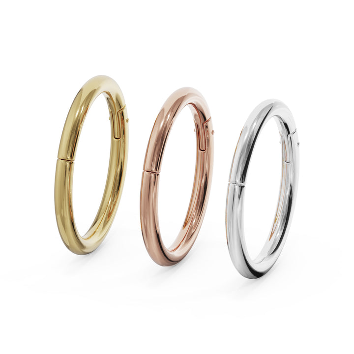 All gold colors 14k Gold Plain Clicker Ring Hoop