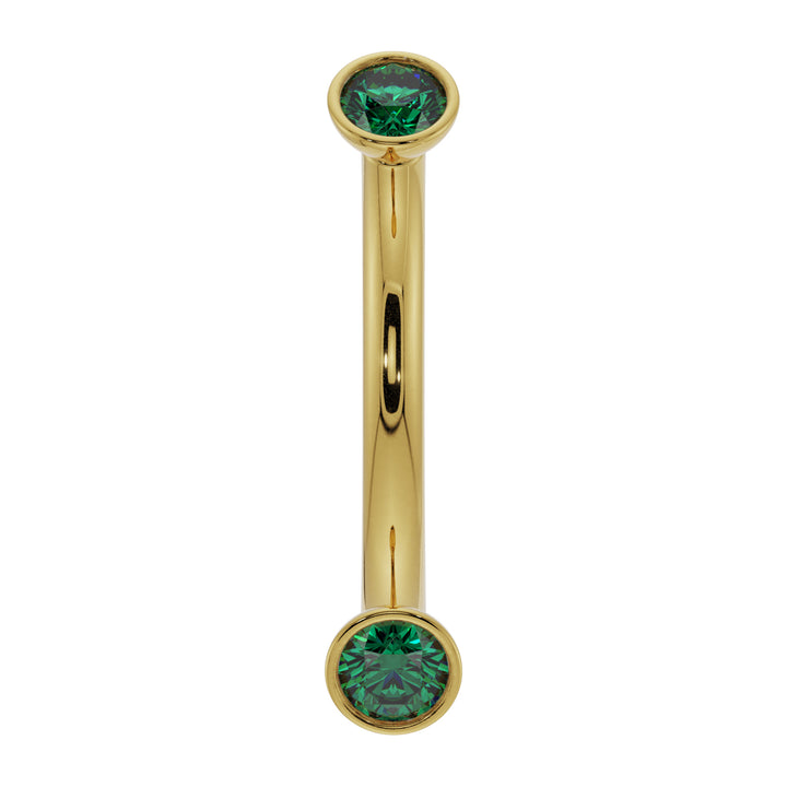 18G (1.0mm) 14K Yellow  Gold dainty emerald bezel 14k gold curved barbell
