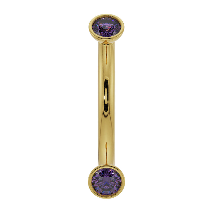 18G (1.0mm) 14K Yellow  Gold dainty amethyst bezel 14k gold curved barbell