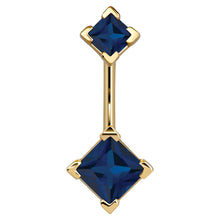Double Princess Cut 14k Gold Belly Button Ring