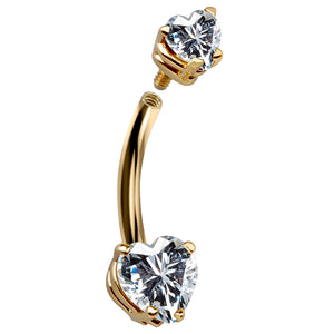 Petite Hearts Cubic Zirconia 14k Gold Belly Ring