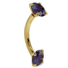 14G (1.6mm) 14K Yellow  Gold dainty amethyst prong 14k gold curved barbell