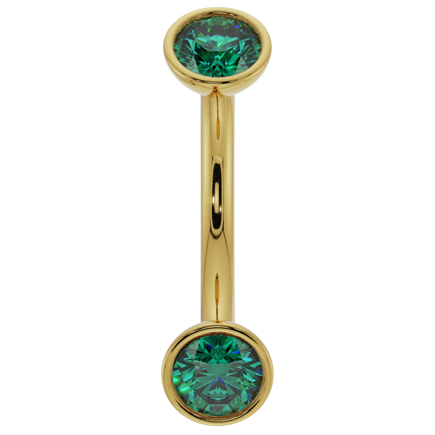 14k Yellow Gold Emerald Bezel-Set Eyebrow Rook Belly Curved Barbell
