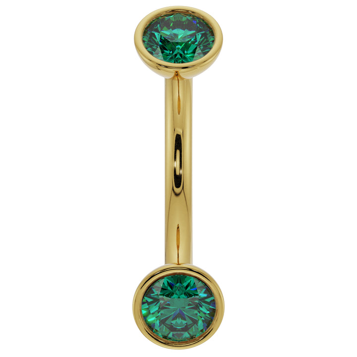 16G (1.2mm) 14K Yellow  Gold dainty emerald bezel 14k gold curved barbell