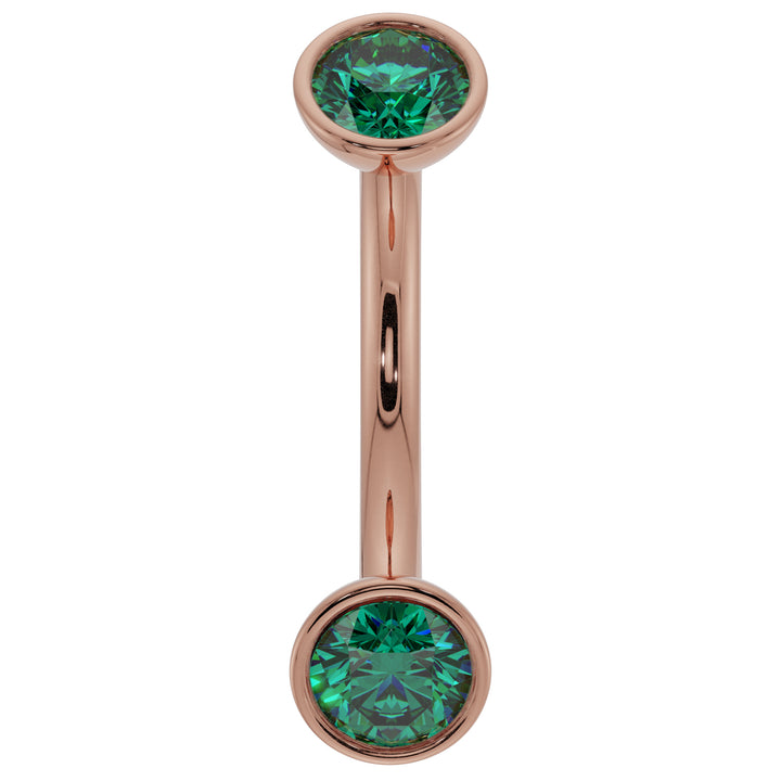 14G (1.6mm) 14K Yellow  Gold dainty emerald bezel 14k gold curved barbell