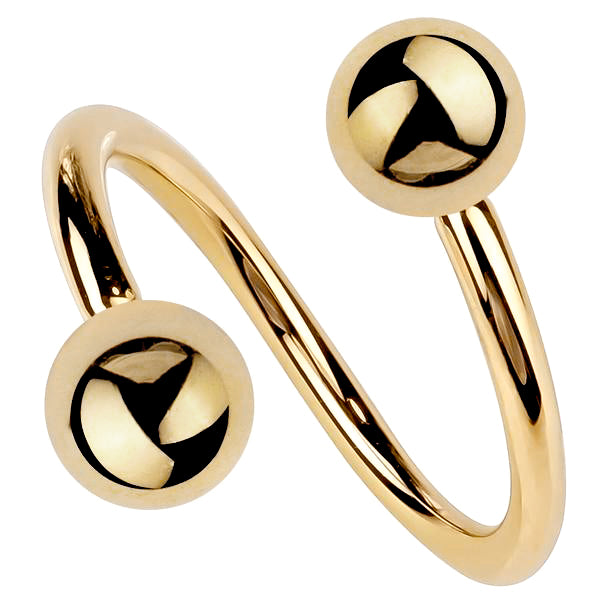 14K Gold Twister Spiral Barbell