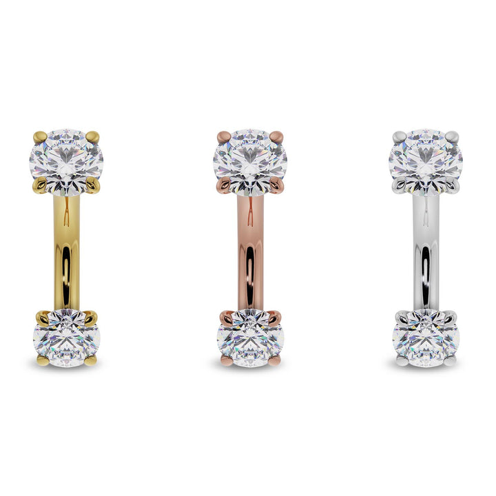 Gold options 4mm Cubic Zirconia Prong-Set Eyebrow Rook Belly Curved Barbell