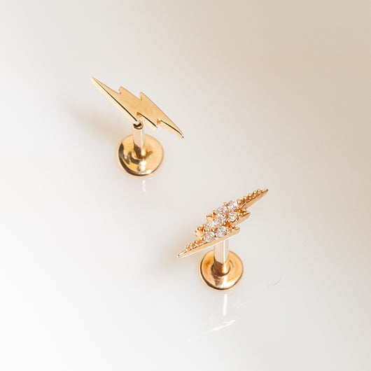 Two Styles Lightning Bolt Styles 14k Gold Flat Back Stud