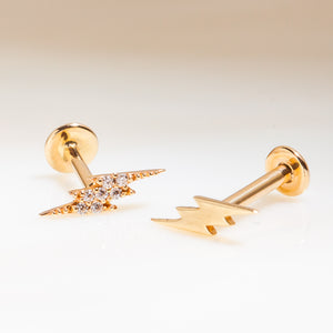 Two Lightning Bolt Styles 14k Gold Flat Back Stud