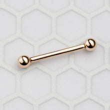 14k Gold Straight Barbell Internally Threaded