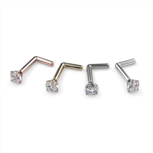 2.5mm Petite Diamond Prong Nose Ring Stud