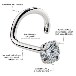 Twist Specs - Diamond Prong Nose Ring Stud
