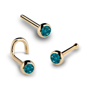 1.5mm Blue Diamond Bezel Set 14K Gold Nose Ring