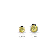 2mm Yellow Diamond Bezel Set 14K Gold Nose Ring