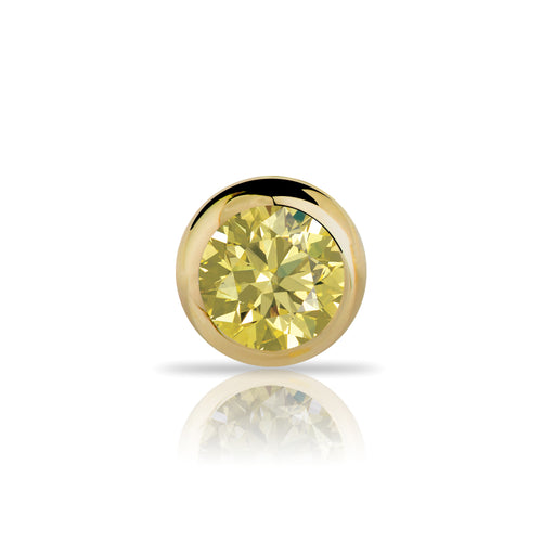 1.5mm Yellow Diamond Bezel Set 14K Gold Nose Ring