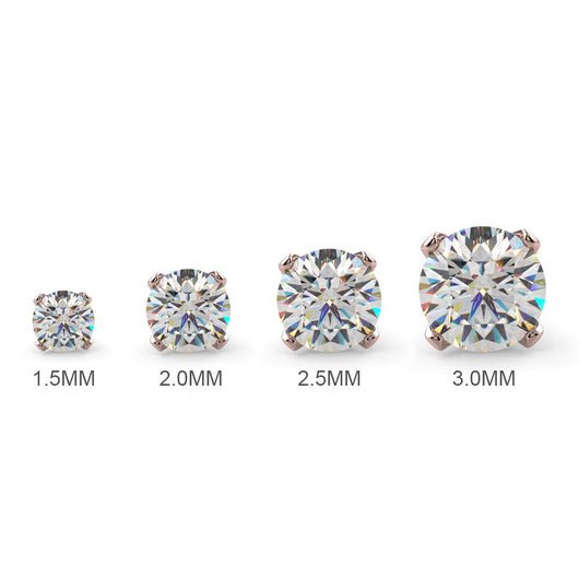 Diamond Size Options for Diamond Prong Nose Ring Stud