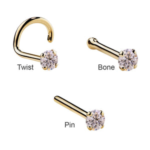 Pink Diamond Prong 14K Gold Nose Ring