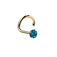Blue Diamond 14K Yellow Gold Nose Ring Twist